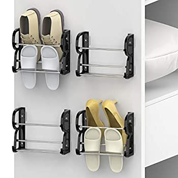 Yocice Wall Mounted Shoes Rack 4Pack/Can Store 4Pairs Sneakers and 4Pairs Slide Sandal,with Sticky Hanging Mounts Shoes Holder Storage Organizer Shelf ,Door Shoe Hangers Black,SM05-1inch-4Pack