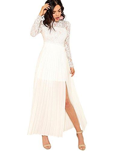Floerns Women's Long Sleeve Lace Chiffon Maxi Formal Evening Dress