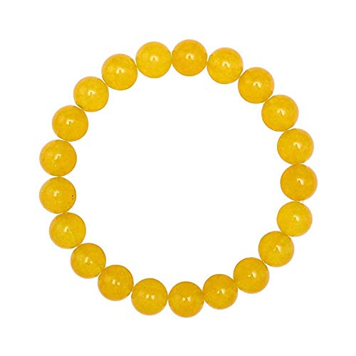 Forziani 10mm Yellow Jade Beaded Bracelet for Men - Energy and Endurance - High Quality Stretch Yellow Gemstone Beads Mens Bracelet Size Large - Made in USA - Gift For Him