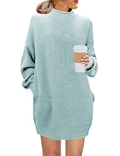 MEROKEETY Women's Turtleneck Long Sleeve Sweater Casual Loose Knit Sweater Dress Green