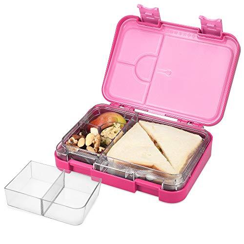 Navaris Bento Box Lunch Box Brotdose Vesperbox - auslaufsicher mit variablen Fächern - herausnehmbare Innenschale - für Jungs und Mädchen - pink