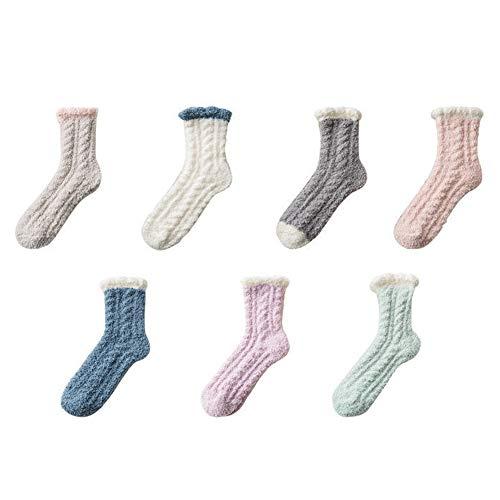 MEISHU Set di 5 paia di calzini invernali caldi in lana di agnello per ragazza, colore casuale