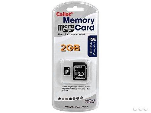 Cellet MicroSD 2GB Tarjeta de memoria para LG CHOCOLATE Pink Phone con adaptador SD