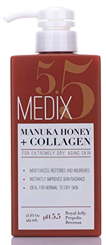 Medix 5.5 Manuka Honey Cream with Collagen and Green Tea Extracts. Anti-aging Cream for face and body, moisturizes, restores and nourishes skin. Large 15oz (444 mL) bottle with pump