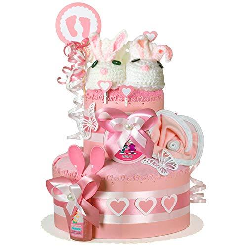 MomsStory - Windeltorte Mädchen | Haase | Baby-Geschenk zur Geburt Taufe Babyshower | 2 Stöckig (Rosa) mit Baby-Schuhchen Lätzchen Schnuller & mehr