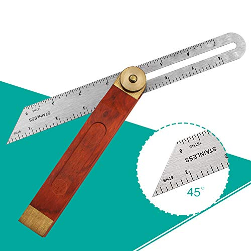 9-Inch T-Bevel Ruler with Stainless Steel Blade and Hardwood Handle, Suitable for Craftsman Builder Carpenter Architect Engineer