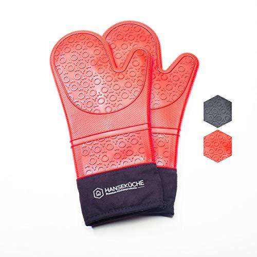 Hanseküche Premium Ofenhandschuhe (2er Set) - Sehr hitzebeständige Topfhandschuhe, Grillhandschuhe, Ofenhandschuhe und Backhandschuhe aus Silikon und Baumwolle (Rot)