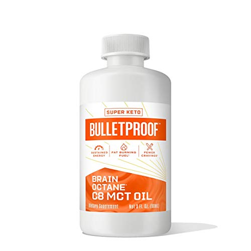 Bulletproof Keto Supplement for Sustained Energy, Appetite Control, Mental & Physical Energy, Non-GMO, Vegan & Cruelty Free, Brain Octane Premium C8 MCT Oil from Non-GMO Coconuts, 14g MCTs, 3 Fl Oz, Bulletproof Keto Supplement for Sustained Energy, Appeti