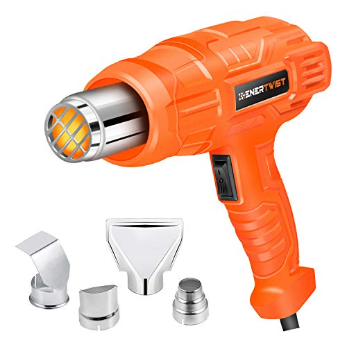 Enertwist 1500W Heat Gun Kit with 4 Nozzle Attachments, Dual Temperature Hot Air Gun Heating Protect for Shrink Wrapping, Paint Removal, Rusted Bolt Stripping, Wire Shrinking, Crafting, ET-HG-1500R