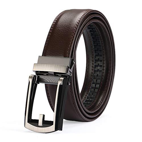 Men's Dress Comfort Genuine Click Belt,Adjustable Perfect Fit Leather Belt 27-46' (Comfort belt-1) (Brown)