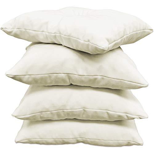 CALINUIT - Lot de 4 Coussins d'assise 45x45cm Blanc écru 100% Coton fabriqué en France