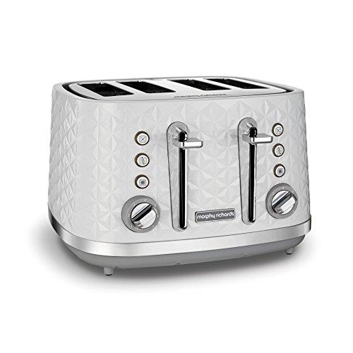 (White) - Morphy Richards Vector 4 Slice Toaster 248134 White Four Slice Toaster White Toaster