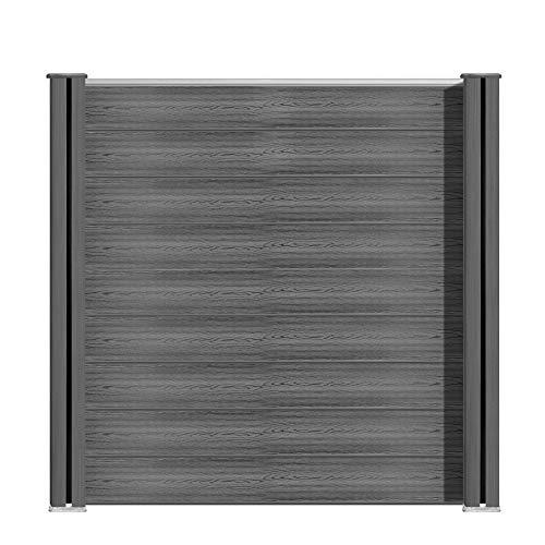 S SIENOC WPC Zaun WPC-Zaun Bildschirm-Zaun Garten Zaun Terrace (1x Element + 2X Pfosten, Grau 180cm)
