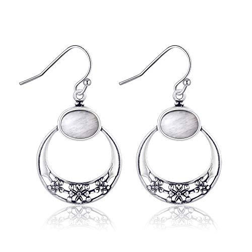 NOBRAND Pendientes para mujer, ovalados de piedra lunar infantil, crisantemo, plata