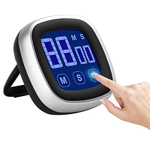 Timer Cucina, Timer Digitale con Schienale Magnetico, Supporto Pieghevole, Sveglia Forte e Conto Alla Rovescia con Grande Schermo LCD, Timer Palestra, Digitale Timer per Cottura