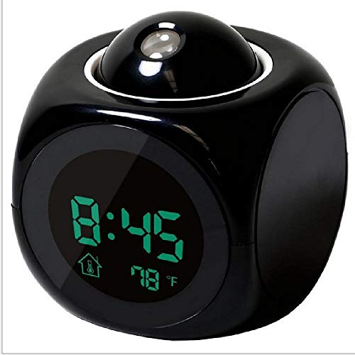 Multifunktions-Projektions-Taktgeber LED-Bunte-Projektions-Wecker Sprachreport Uhr,Black