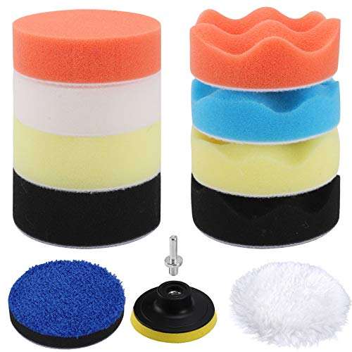 HMPLL 12PCS Car Foam Drill Polishing Pad Kit, 3inch Buffing Pads, Car Sponge Buffing Polishing Pads Kit for Car Polishing, Waxing, Sanding, Sealing Glaze, Foam Pads of Drill Polisher Attachment