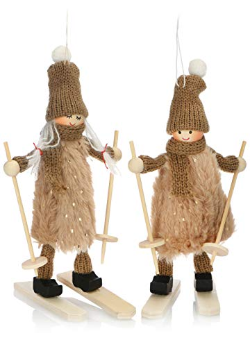 com-four® Premium Weihnachts-Figur für die Weihnachtsdeko, Skifahrer-Figuren als winterlicher Dekoartikel, Raumschmuck oder Geschenk (2 Stück - Skifahrerpaar)