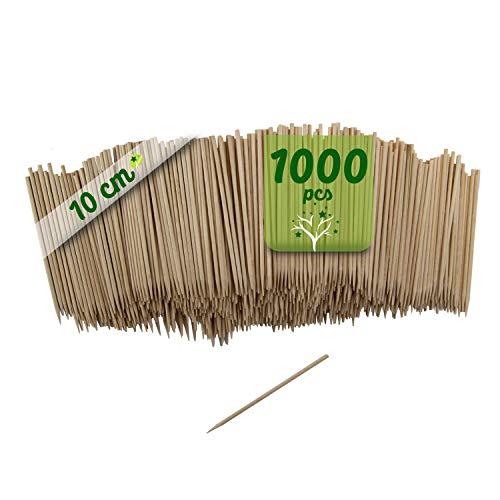 GoBeTree 1000 Brochetas de Madera de 10 cm y Ø 2 mm de diámetro. Pinchos y Palos de Madera bambú para Parrillas, barbacoas, Carnes, Verduras. Palos de Madera para Manualidades.