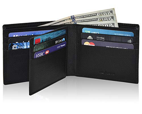 Genuine Leather Bifold Wallets for Men- RFID Blocking Secure Slim mens wallet credit card ID window (Black Nappa)