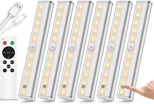 Remote Control Under Cabinet Lighting Wireless 6 Pack 20 LED Dimmable Closet Lights Rechargeable product image