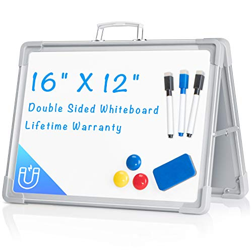 """Small Dry Erase White Board, ARCOBIS 12""""X16"""" Magnetic Portable White Board Double-Sided Desktop Foldable Whiteboard Easel for Classroom Home Office"""