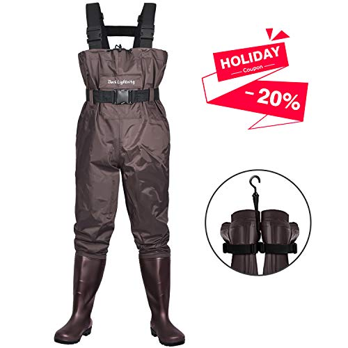 Dark Lightning Fly Fishing Waders for Men and Women with Boots, Mens/Womens High Chest Wader with Boot Hanger (Brown, M10/W12)
