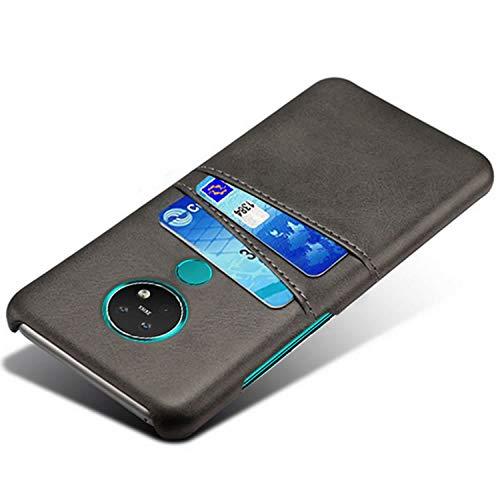 HualuBro Handyhülle für Nokia 7.2 Hülle, Nokia 6.2 Hülle Leder, Ultra Slim Stoßfest Schutzhülle Bumper Hülle Cover Lederhülle Backcover für Nokia 7.2 / Nokia 6.2 Tasche (Schwarz)