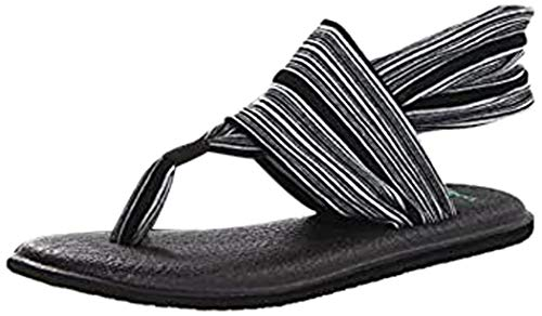 Sanuk Yoga Sling 2 Solid Vintage Sandalia para mujer, (Negro/Blanco), 35 EU