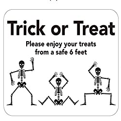 Image: Trick Or Treat Social Distancing Sign for Halloween 'Trick Or Treat Please Enjoy Your Treats from a Safe 6 Feet' 10 x 8 Vinyl Adhesive Removable Wall Decal Safety Halloween Sign | Brand: Generic