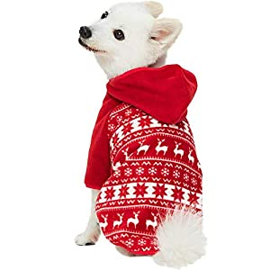 Blueberry Pet Warm & Soft Ugly Christmas Holiday Reindeer & Snowflake Fall Winter Pullover Dog Fleece Sweater Hoodie, Back Length 22″, Windproof Clothes for Large Dogs