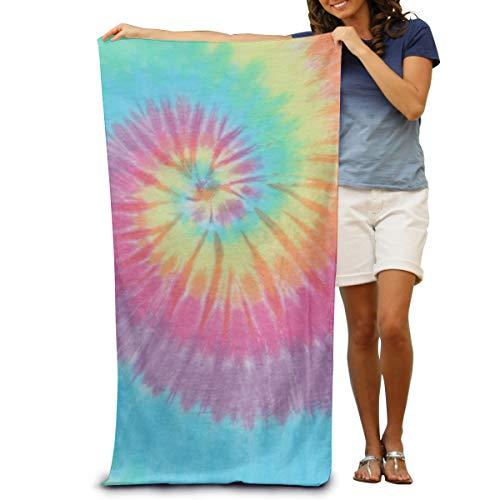U Shape Toallas de Playa Pastel Personalizado Espiral Tie Dye Súper Absorbentes de Agua Toallas de Baño Esponjosas Manta Suave para Tomar el Sol Nadar Viajar 52×31.5 Pulgadas