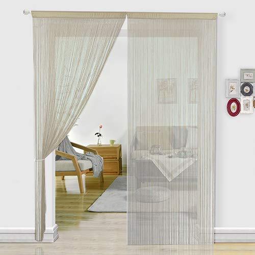 HSYLYM cortina espagueti para Puerta,divisor de habitación,decoración del hogar,poliéster,champán,90x200cm