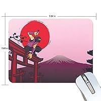 マウスパッド かわいい 鳥居上の忍者 侍 寺 太陽 富士山 高級 ノート パソコン マウス パッド 柔らかい ゲーミング よく 滑る 便利 静音 携帯 手首 楽