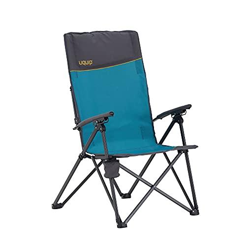 Uquip Campingstuhl Becky - 3-Fach verstellbare Rückenlehne, Armlehnen, Getränkehalter, belastbar bis 120kg