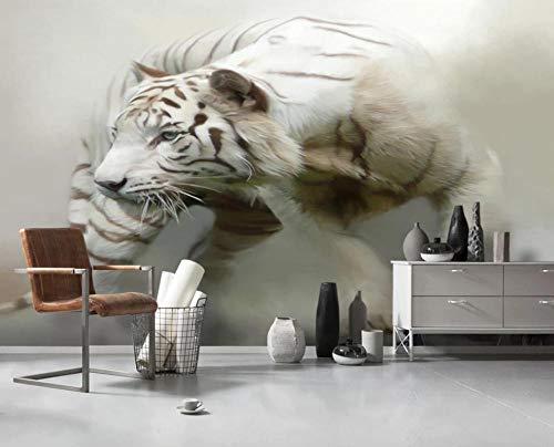 Fototapete Tier Tier Weiß Tiger | Tapete | Wandbild | Wandbild | Bild | Fototapeten | Tapeten | Wandtapete | Wanddeko | Wandtapete | 3D Effekt - 200x140CM-XL
