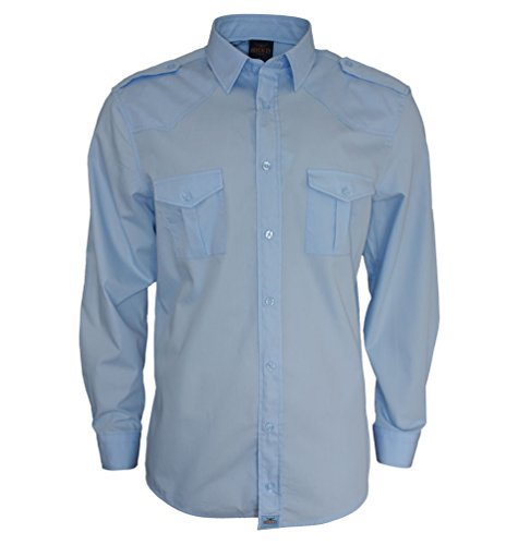ROCK-IT Apparel® Herren Hemd Langarm US-Hemd Military Look Worker Hemd Worker Shirt Freizeit Made in Europa Größen S-5XL Farbe Hellblau X-Large