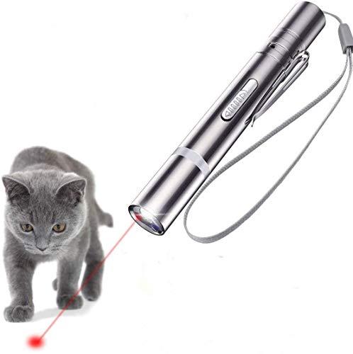 Giocattoli Interattivi per Gatti puntatore a LED, USB Ricaricabile 4in1 Funzione Mini Torcia+Luce Rossa+Luce UV+Proiezione strumento di allenamento per gatto cucciolo