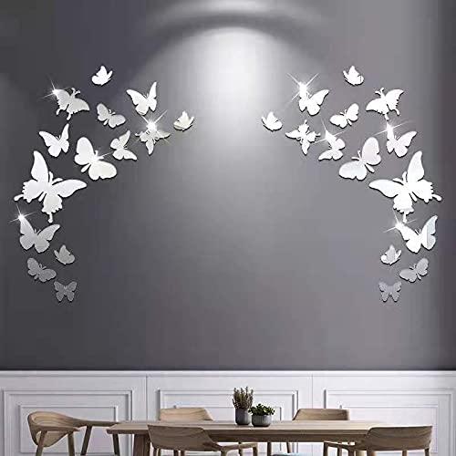 Adesivi murali 28 PCS Farfalla Combinazione 3D DIY Specchio Wall Stickers Home Decoration Adatto per finestre e porte a muro di piastrell (Argento)