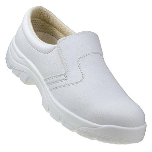 Weiße Sicherheitsschuhe mit Metall-Zehenkappe aus Mikrofaser, rutschfest, wasserdicht, Arbeitsschuhe, Turnschuhe, Stiefel 251 S2, Weiß - weiß - Größe: 40 2/3 EU