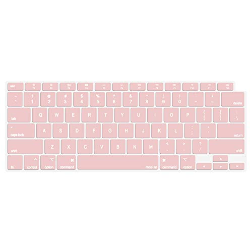 MOSISO Keyboard Cover Only Compatible with MacBook Air 13 inch 2020 Release A2337 M1 A2179 Retina Display with Touch ID Backlit Magic Keyboard, Waterproof Protective Silicone Skin, Rose Quartz