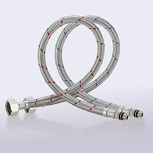 Conector de grifo largo de 24 pulgadas Conector trenzado de acero inoxidable Líneas de agua de suministro flexible 3/8 pulgadas Hilo de compresión femenina x M10 Conector macho, x 2 PCS (1 par) 60 cm