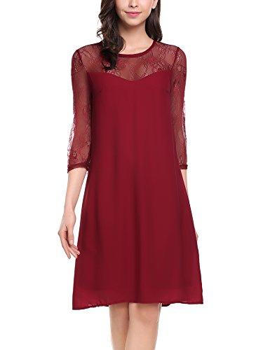 Zeagoo Damen Chiffon Kleid mit Spitzen Elegant Cocktail Party Abendkleid Sommerkleider 3/4 Ärmel A Linie Knielang Weinrot XL