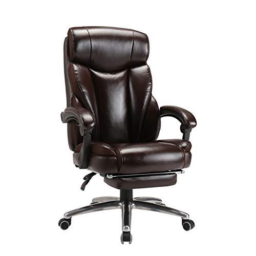 DJDLLZY Silla de oficina ergonómica escritorio ejecutivo de cuero de la PU de la espalda alta del hogar de la oficina