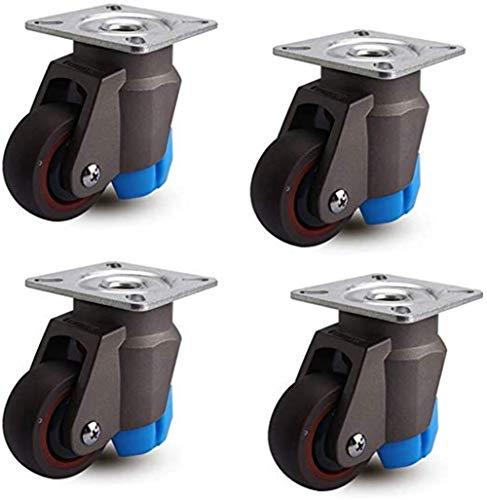 Rolls 4PCS 2 pulgadas for trabajo pesado de goma Muebles de goma de la rueda ruedas de freno con articulación universal 50 mm 200 kg silencio por la carretilla escaparate Negro universal freno a Largo