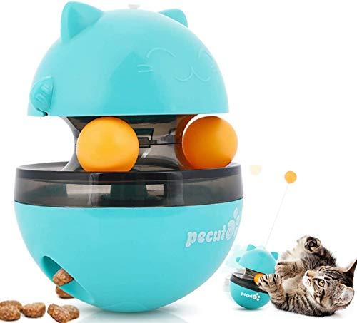 Pecute Juguetes para Gatos Interactivos 4 EN 1 Bolas Educativos de Pelota Dispensadora de Comida Bola Volteadora (Azul)