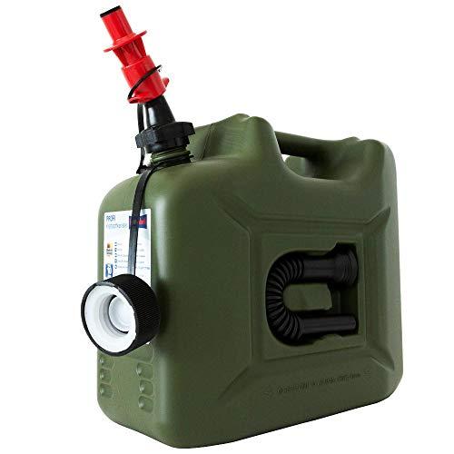 DENQBAR 10 Liter Benzinkanister mit Sicherheits-Einfüllsystem inkl. Auslaufrohr und UN-Zulassung für Benzin, Diesel und E10 geeignet