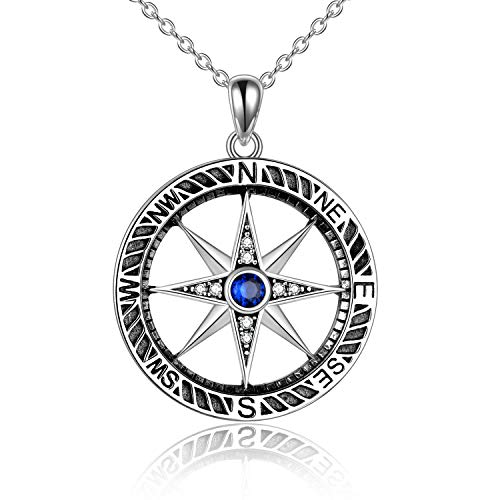 HUKKUN Graduation Gifts for Her Compass Necklace for Women Sterling Silver Celtic Knot Compass Necklace Graduation Friendship Talisman Travel Necklace Inspirational Graduation Gift Jewelry