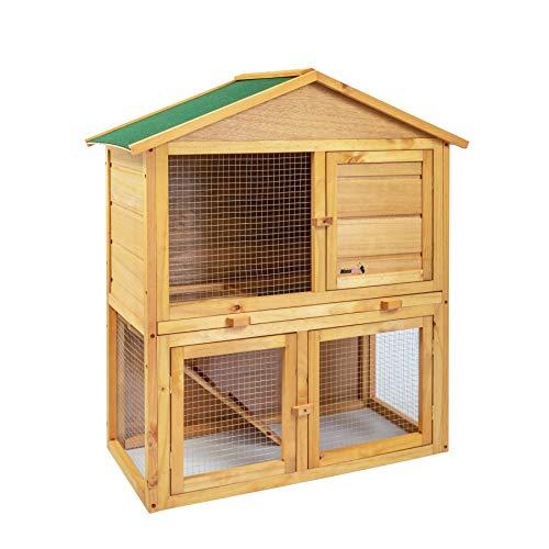 MaxxPet Jana Jana - Jaula para conejos – Conejera de exterior jardín – Casa para pequeños animales de madera de abeto – 85 x 45 x 97 cm