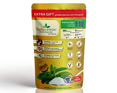 Dolcificante Golden Stevia con inulina in polvere 500g =5kg sostituire lo zucchero 1:10 fibra di radice di cicoria, low carb, dieta chetogenica, zucchero per diabetici